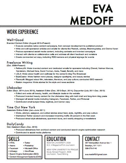 resume – eva medoff //writer